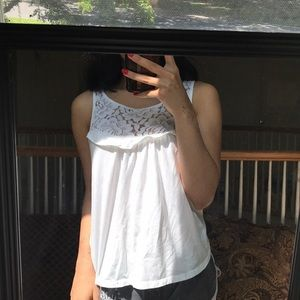 Gilly Hicks / Hollister White Floral Lacy Tank Top